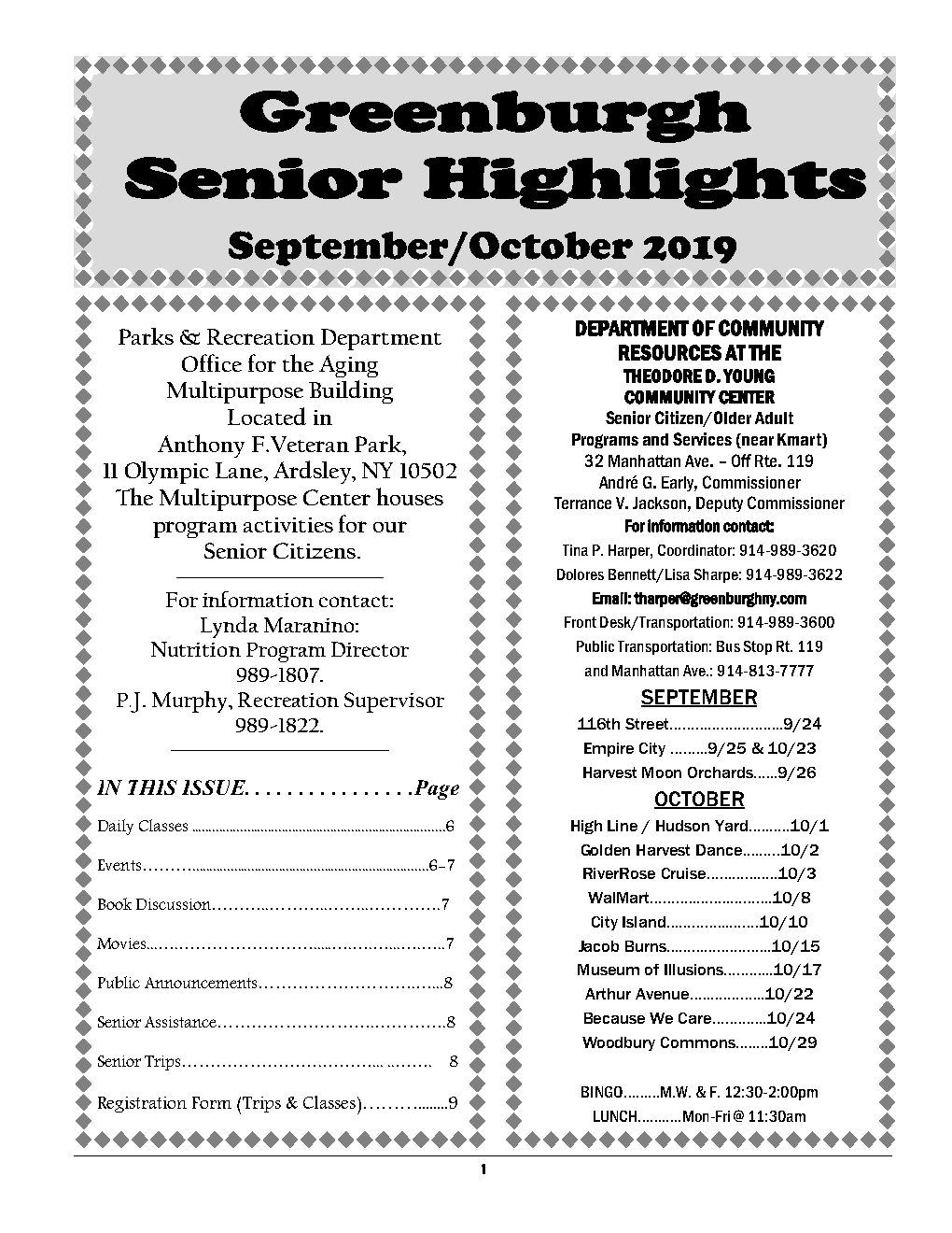 Cover or Senior Highlights September to October 2019